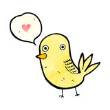 den gulliga tecknad filmfågeln med förälskelsehjärta och anförande bubblar Fotografering för Bildbyråer