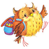 Den gulliga tecknad filmskolaskolan lurar utbildningsbakgrund Gullig djur watercolorwatercolor Royaltyfri Fotografi