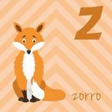 Den gulliga tecknad filmzoo illustrerade alfabet med roliga djur Spanskt alfabet: Z för Zorro stock illustrationer