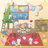 Den gulliga tecknade filmen av små katter firar ett julparti i ett dekorerat rum royaltyfri illustrationer