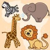 Den gulliga tecknade filmen behandla som ett barn afrikanska djur vektor för set för tecknad filmhjärtor polar Arkivfoto