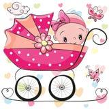 Den gulliga tecknade filmen behandla som ett barn flickan sitter på en vagn royaltyfri illustrationer
