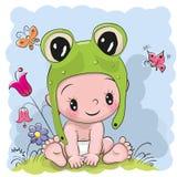 Den gulliga tecknade filmen behandla som ett barn i en froggyhatt stock illustrationer