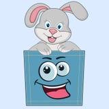 Den gulliga tecknade filmen behandla som ett barn kaninen som sitter i ett fack och ler gyckel vektor illustrationer