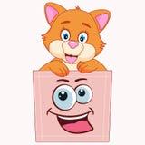 Den gulliga tecknade filmen behandla som ett barn katten som sitter i ett fack och ler gyckel stock illustrationer