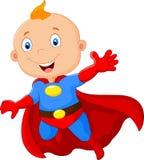 Den gulliga tecknade filmen behandla som ett barn superheroen Arkivfoton
