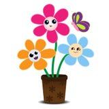 Den gulliga tecknade filmen blommar på en blomkruka Royaltyfria Bilder