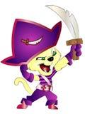 Den gulliga tecknade filmen piratkopierar katten royaltyfria bilder