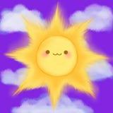 Den gulliga tecknade filmen som ler solen, fördunklar manga för himmelkawaiianime Royaltyfria Foton