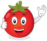 Den gulliga tomaten med tummar Up teckenet Royaltyfri Bild
