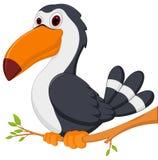 Den gulliga tukanfågeltecknade filmen sitter på träd royaltyfri illustrationer