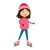 Den gulliga unga flickan i rullrosa färger åker skridskor vektorn vektor illustrationer