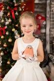 Den gulliga unga härliga flickan bär julklänningen Royaltyfri Fotografi