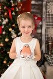 Den gulliga unga härliga flickan bär julklänningen Fotografering för Bildbyråer