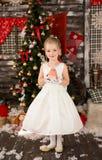 Den gulliga unga härliga flickan bär julklänningen Arkivbilder