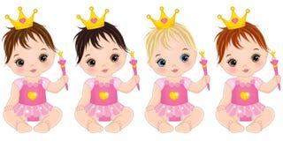 Den gulliga vektorn behandla som ett barn flickor som kläs som prinsessor med trollspön stock illustrationer