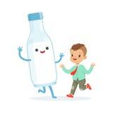 Den gulligt pysen och roligt mjölkar flaskan med att le den mänskliga framsidan som spelar och har gyckel, sund barns mattecknad  vektor illustrationer