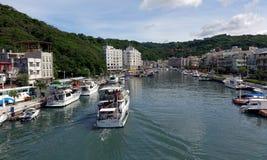 Den Gushan marina i den Kaohsiung staden Arkivbilder