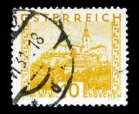 Den Gussing slotten, Burgenland, landskap serie, circa 1929 Arkivbild
