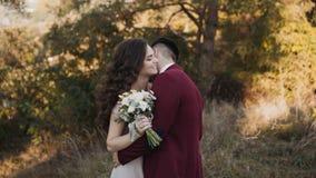 Den härliga älskvärda ståenden av att gifta sig par, brudgum kysser brudens hals stock video