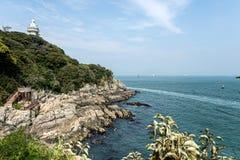 Den härliga ön av Korea, den Odongdo ön, Sicheong-ro, Yeosu-si, Jeollanam-gör, Korea Arkivfoto