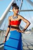 Den härliga afrikansk amerikan danar modellerar Fotografering för Bildbyråer