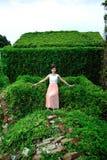 Den härliga asiatiska flickan strosar i växtväggen royaltyfria bilder