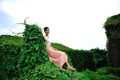 Den härliga asiatiska flickan strosar i växtväggen arkivbilder