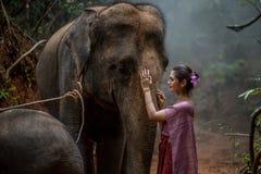 Den härliga asiatiska kvinnan bär den thai klänningen med hennes elefant, elepha Arkivfoton