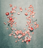 Den härliga blom- ramen med rosa färger blommar kronblad på lantlig bakgrund för turkos, royaltyfri fotografi