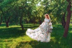 Den härliga bruden i sommargräsplan parkerar Flicka i tappningklänning Arkivfoto