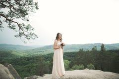Den härliga bruden som nära poserar, vaggar mot bakgrund bergen royaltyfri fotografi