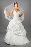 den härliga brudklänningen skyler under bröllop Arkivbilder