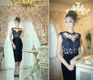 Den härliga brunettdamen i elegant svart snör åt klänningen som poserar i en tappningplats Ung sinnlig trendig kvinna på höga häl Fotografering för Bildbyråer