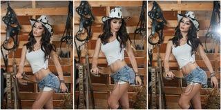 Den härliga brunettflickan med landsblick, sköt inomhus i stallet, lantlig stil Den attraktiva kvinnan med cowboyhatten, grov bom Royaltyfri Foto