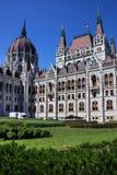 Den härliga byggnaden av den ungerska parlamentet av Budapest Arkivbilder