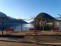 Den härliga byn av Lugano, Schweiz Fotografering för Bildbyråer