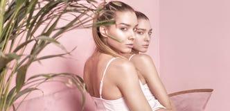 Den härliga caucasianen kopplar samman kvinnliga modeller på rosa bakgrund Royaltyfri Bild