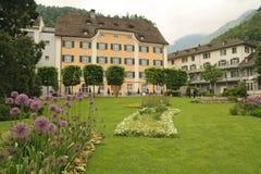 Den härliga dåliga Ragaz staden parkerar Schweiz Arkivbilder