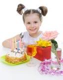 den härliga födelsedagen firar flickan little royaltyfria bilder