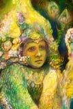 Den härliga fantasicloseupståenden av en fe elven barnet, detaljen, färgrik målning, abstrakt begreppmodell Royaltyfri Fotografi