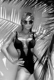 Den härliga fenomenala bedöva eleganta sexiga blonda modellkvinnan med perfekt bära för framsida solglasögon står med elegant ero Arkivbild