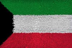 Den härliga flaggan av det Kuwait slutet upp stock illustrationer