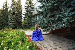 Den härliga flickan går i en blå klänning arkivbild