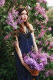 Den härliga flickan i en klänning som poserar nära en Bush av lilor på en sommardag, lilor blommar i parkera Vårstående av en fli royaltyfria bilder
