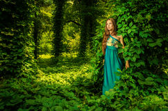 Den härliga flickan i en lång blått klär att posera i en sommar Arkivfoton