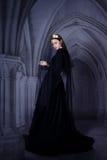 Den härliga flickan i en svart klänning och mörker skyler Royaltyfri Fotografi
