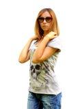Den härliga flickan i solglasögon Royaltyfria Bilder