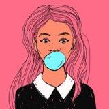 Den härliga flickan med bubbelgum, långt hår och vit förser med krage För popkonst för vektor hand dragen illustration stock illustrationer