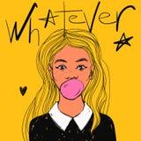 Den härliga flickan med bubbelgum, långt hår och vit förser med krage För popkonst för vektor hand dragen illustration och whatev royaltyfri illustrationer